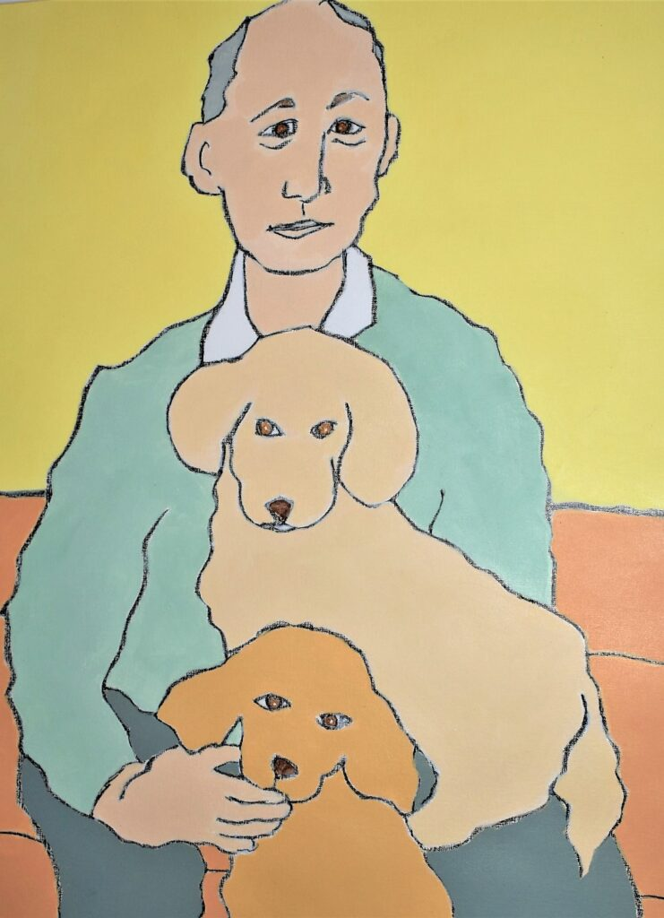 Man and Dogs.